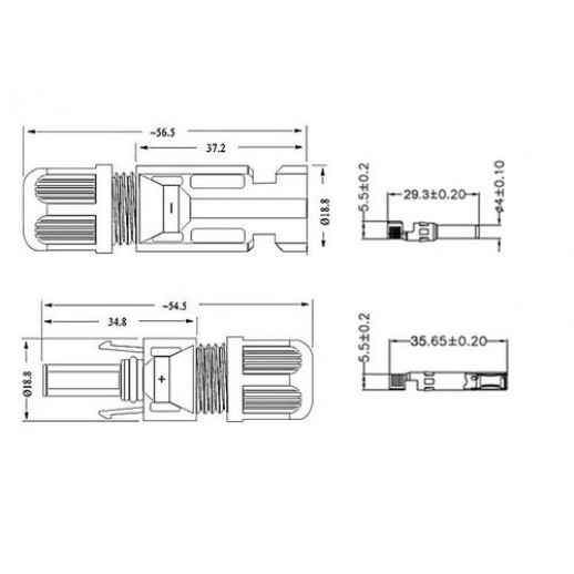 Фото - Коннектор MC4 AB 30А для подключения солнечных панелей (комплект 2 шт)