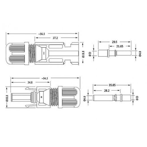 Фото - Коннектор MC4 AB 45А для подключения солнечных панелей (комплект 2 шт)