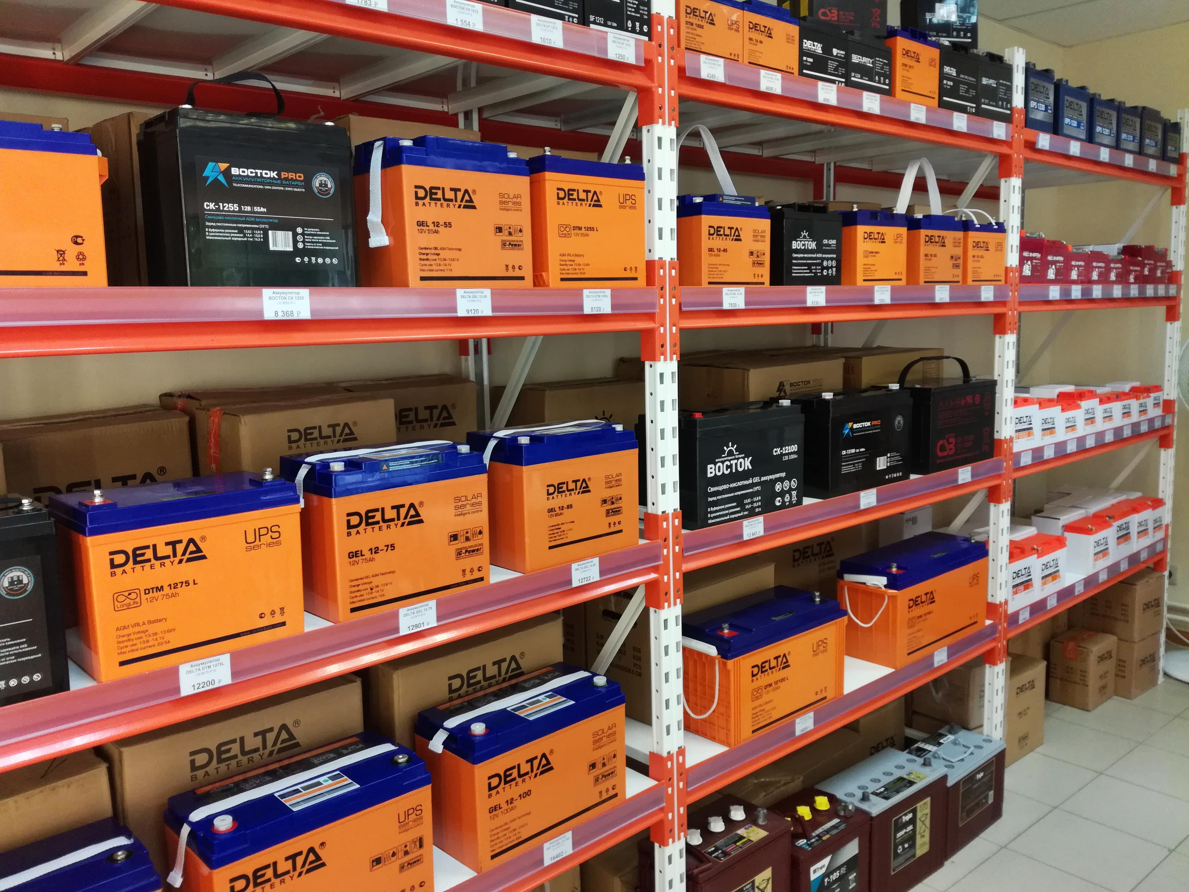 Фото витрины аккумуляторов в интернет-магазине ИБП-Урал